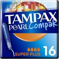 Tampón superplus TAMPAX Compak Pearl, caja 18 uds.