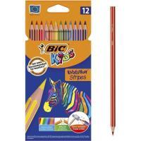 Lápices de colores surtidos Kids Evolution Stripes BIC, Caja 12 uds