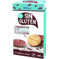 Galleta Digestive avena chocoleche s/ gluten B-LIVE, caja 165 g