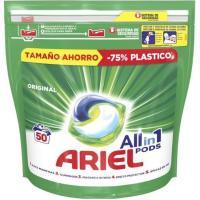 Detergente en cápsulas original ARIEL, bolsa 50 dosis