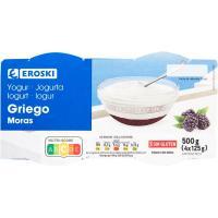Yogur griego con mora EROSKI, pack 4x125 g