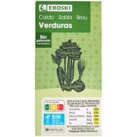 Caldo de verduras EROSKI, 10 pastillas, caja 90 g