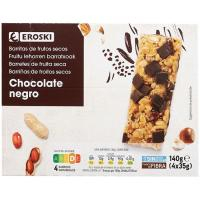 Barritas de frutos secos con chocolate EROSKI, caja 140 g