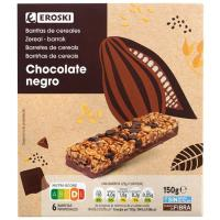 Barritas de cereales con chocolate EROSKI, caja 150 g