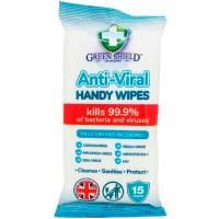 Toallitas de manos antibacterias GREEN SHIELD, paquete 15 uds.