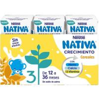 Leche de crecimiento junior 1+ cereal NESTLÉ, pack 3x180 ml