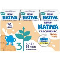 Leche de crecimiento junior 1+ galleta NESTLÉ, pack 3x180 ml