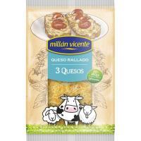 Queso rallado 3 quesos MILLAN VICENTE, bolsa 150 g