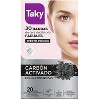 Bandas depilatorias faciales carbón activado TAKY, caja 20 uds.