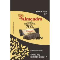 Porciones de chocolate crujiente 70% EL ALMENDRO, bolsa 400 g