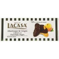 Albaricoque cubierto de chocolate negro LACASA, caja 112 g