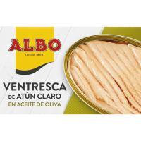 Ventresca de atún claro en aceite de oliva ALBO, lata 112 g