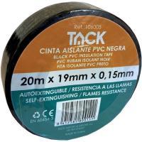 Cinta aislante negra TACK, 20m x 19mm