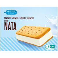 Sandwich de nata MASTRO GELATO, 6 uds., caja 600 ml