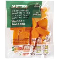 Calabaza limpia en trozos EROSKI, bandeja 750 g