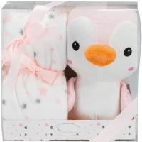 Manta polar + peluche pingüino, rosa, tacto extrasuave, 80x110cm INTERBABY, 1 ud