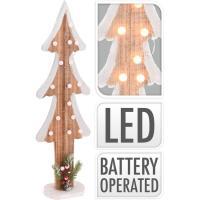Arbol de madera con 15 luces led blanco - cáldo decorado, 60 cm