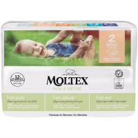 Pañal 3-6 kg Talla 2 MOLTEX Pure&Nature, paquete 36 uds