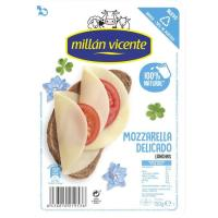 Queso Mozzarella MILLAN VICENTE, lonchas, bandeja 150 g
