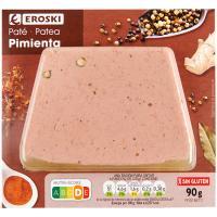 Paté de cerdo a la pimienta EROSKI, blister 90 g