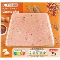 Paté de cerdo de campaña EROSKI, blister 90 g