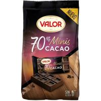 Mini tabletas de chocolate negro 70% VALOR, bolsa 200 g