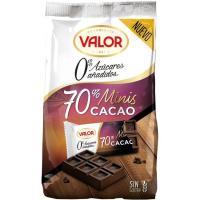 Mini tabletas de choco negro 70% sin azúcar VALOR, bolsa 144 g