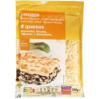 Queso rallado 4 quesos EROSKI, bolsa 200 g