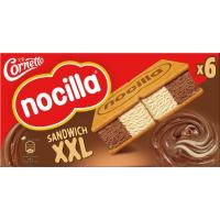 Helado sandwich de nocilla CORNETTO, pack 6x140 ml