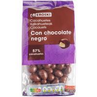 Cacahuetes con chocolate negro EROSKI, bolsa 150 g