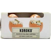 Huevo fresco campero sabor a queso azúl KOROKO, cartón 2 uds