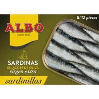 Sardinilla en aceite de oliva virgen ALBO, lata 107 g