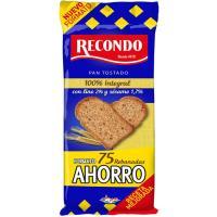 Pan tostado 100% integral sésamo y lino RECONDO, paquete 675 g