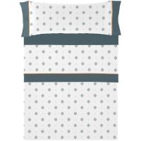 Juego sábanas cama 135 Indigo NAF NAF, 50% Algodón 50% Poliéster, planchado fácil