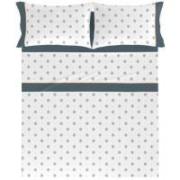 Juego sábanas cama 150 Indigo NAF NAF, 50% Algodón 50% Poliéster, planchado fácil