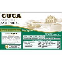 Sardinillas en aceite de oliva virgen ecológico CUCA, lata 90 g