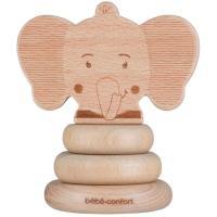 Juguete apilable de madera el elefante, cabeza de sonido con bolas musicales, promueve las habilidades motoras con 3 discos aplilables, madera de haya 100% certificada de bosques gestionados de forma sostenible BEBE CONFORT