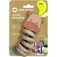 Sonajero Glin Glin el hipopótamo, discos móviles para mezclar y agitar con un efecto sonido, promueve estímulos sensoriales, madera de haya 100% certificada de bosques gestionados de forma sostenible BEBE CONFORT
