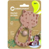 Sonajero de madera el tigre, fácil de agarrar en los bebes pequeños, con sonido ideal para calmar al bebe, madera de haya 100% certificada de bosques gestionados de forma sostenible BEBE CONFORT