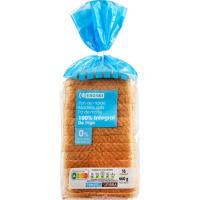 Pan con corteza 0% azúcar 100% integral EROSKI, paquete 460 g