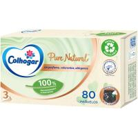 Pañuelo facial COLHOGAR Pure Natural, caja 80 uds