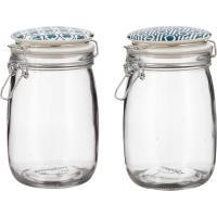 Tarro de 1 litro, con tapa de cerámica azul, colección Amalfi BIDASOA, Pack 2 uds