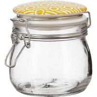 Tarro de 500 ml con tapa de cerámica ocre, colección Amalfi BIDASOA, pack 2 uds
