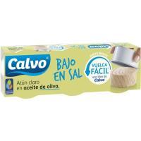 Atún claro en aceite de oliva bajo en sal CALVO, pack 3x52 g