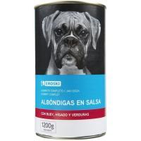 Albóndigas de buey para perro EROSKI, lata 1,2 Kg