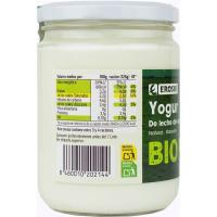 Yogur natural de leche de vaca EROSKI BIO, frasco 420 g