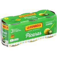 Aceitunas rellenas de jalapeño picaras LA ESPAÑOLA, pack 3x50 g