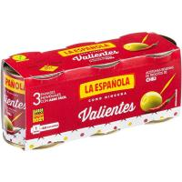 Aceitunas rellenas de chili valientes LA ESPAÑOLA, pack 3x50 g