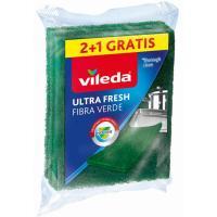 Estropajo fibra verde VILEDA Ultrafresh, pack 2+1 ud