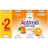 Bebida de leche de naranja vitamina C ACTIMEL, pack 8x100 g